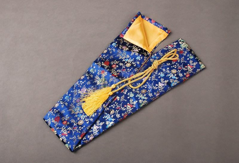 Japanese Samurai Sword Wakizashi Good Quality Nice Blooming Vines Blue Sword Bag