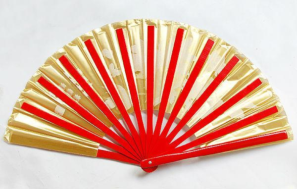 Golden Peony Butterfly Bamboo Fan Red Right Hand)34cm
