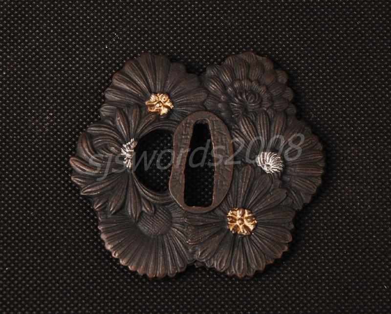 Flower Design Tsuba For Japanese Samurai Sword Katana Wakizashi Sj017