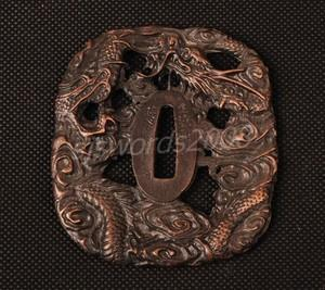 Dragon Carved Tsuba Guard For Japanese Sword Katana Wakizashi Sj024