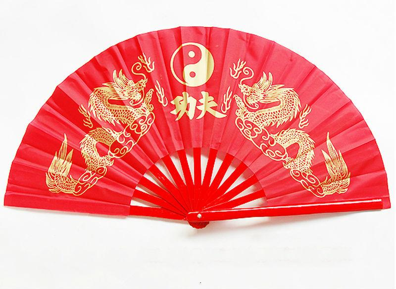 Chinese Kung Fu Tai Chi Martial Arts Double Golden Dragon Bamboo Fan Red 13.4