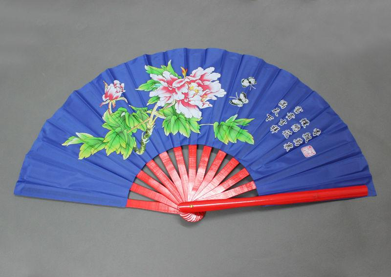 5pcs High Quality Different Colors Chinese Peony Flower Butterfly Bamboo Fan 34cm