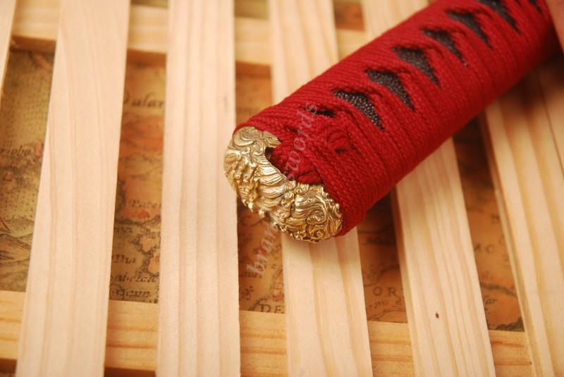 Samurai Sword Katana Handle High Quality Brass Fuchi Kashira Menuki Real Rayskin