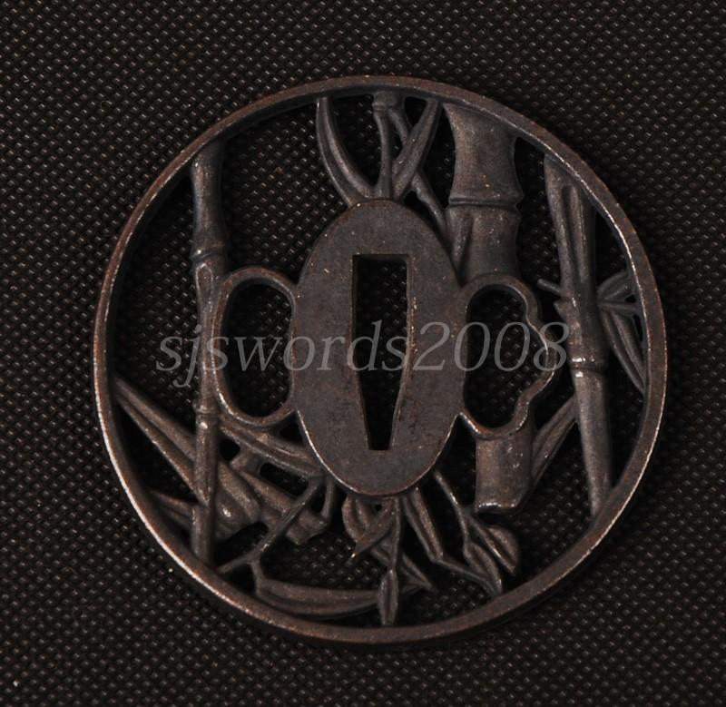 Alloy Tsuba Guard For Japanese Sword Bamboo Carved Nice Design Sj057