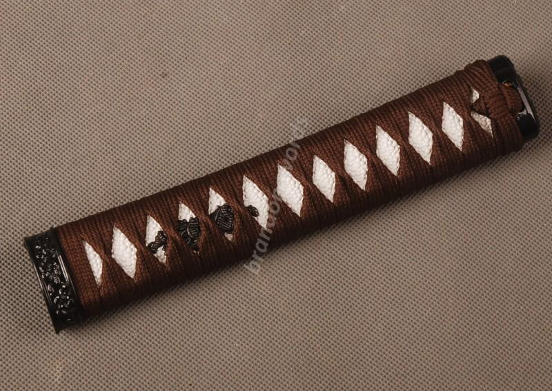 Samurai Sword Japanese Sword Wakizashi Handle Brown Ito White Rayskin Tsuka Zj14