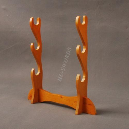 Wood Three-Layer Black Sword Stand Display For Japanese Samurai Sword Katana
