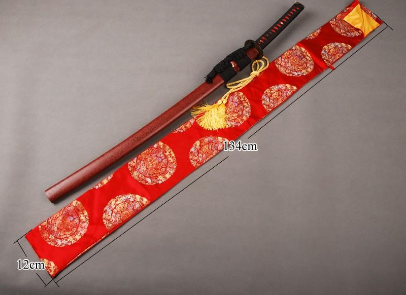 Silk Bag Red Fu Lucky Design For Japanese Samurai Sword Katana Knives Qd23