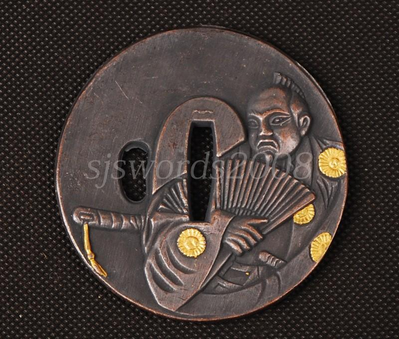 Japanese Sword Part Alloy Guard With Worrior Kanji Carved On Sj058