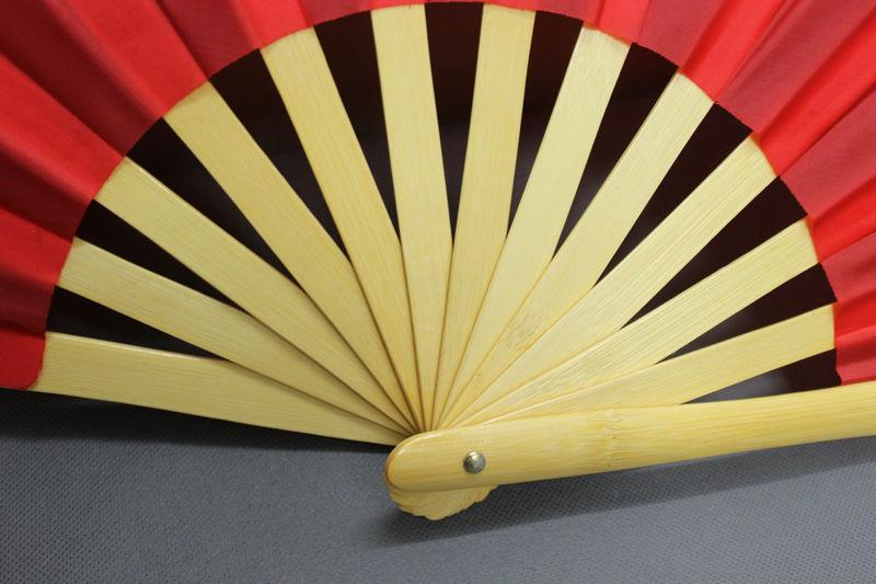 Chinese Characters Tai Chi Martial Arts Kung Fu Bamboo Fan Primary Color