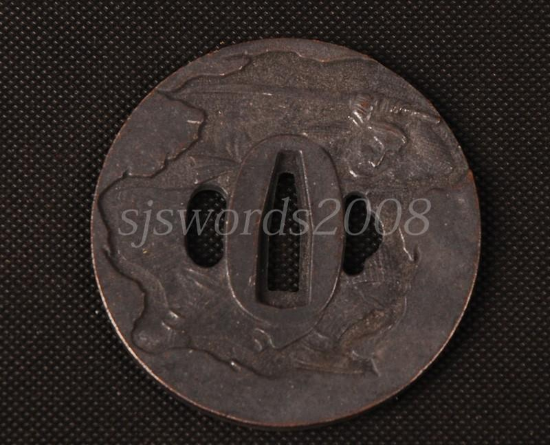 Worrior Hold A Sword Writings Carved Tsuba Alloy For Japanese Sword Guard Sj070