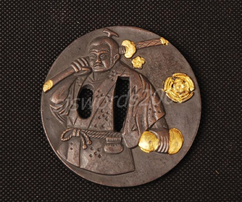 Worrior Carved Tsuba Guard Alloy For Japanese Sword Katana Wakizashi Sj018