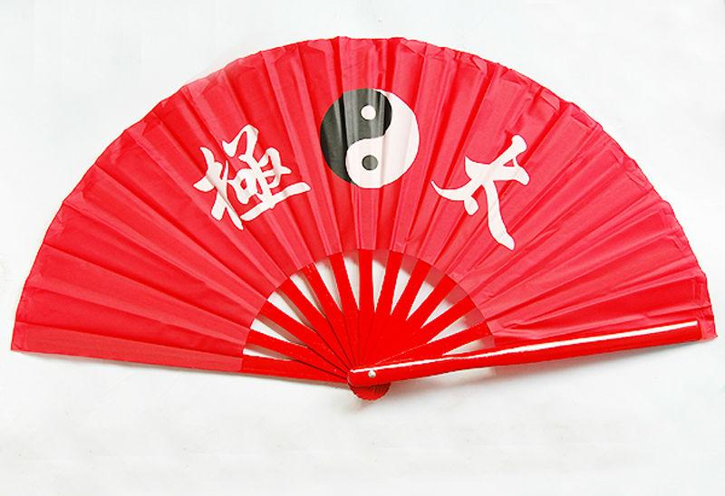 5pcs Chinese Bamboo Frame Tai Chi Martial Arts Eight Trigrams Kung Fu Fan All Red