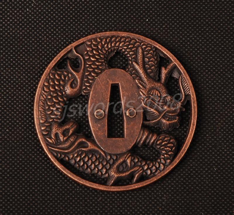 Dragon Carved Tsuba Guard For Japanese Sword Katana
