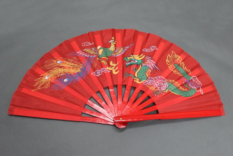 13.5 High-Quality Chinese Tai Chi Martial Arts Kung Fu Bamboo Dragon Phoenix Fan Red