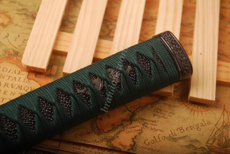 Samurai Sword Japanese Sword Katana Handle Dark Green Black Rayksin Tsuka H39