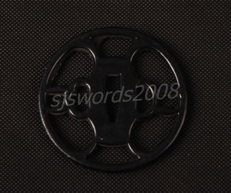 Black Tsuba Simple Style For Japanese Sword Katana Alloy Sj004