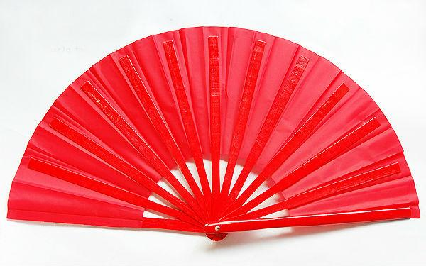 5pcs Large Chinese Tai Chi Martial Arts Kung Fu Bamboo Fan All Red 37cm Right Hand)