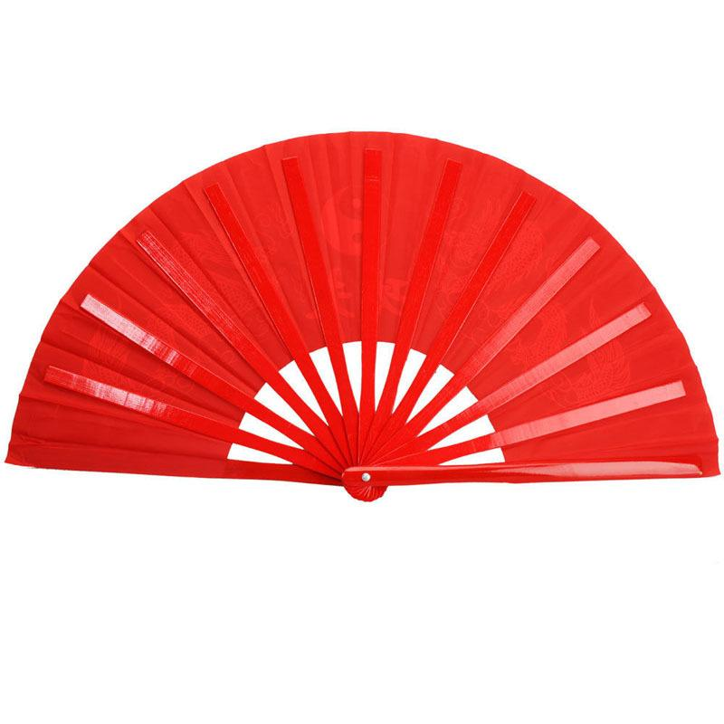 34cm Length Chinese Kung Fu Tai Chi Martial Arts Double Dragon Bamboo Fan Red