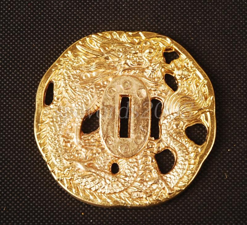 Golden Tsuba Dragon Carved Alloy Plate For Japanese Samurai Sword Hj013