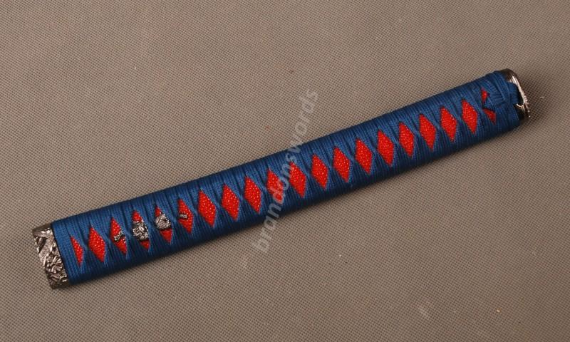 Samurai Sword Japanese Sword Katana Handle Blue Ito Red Rayskin Tsuka H31