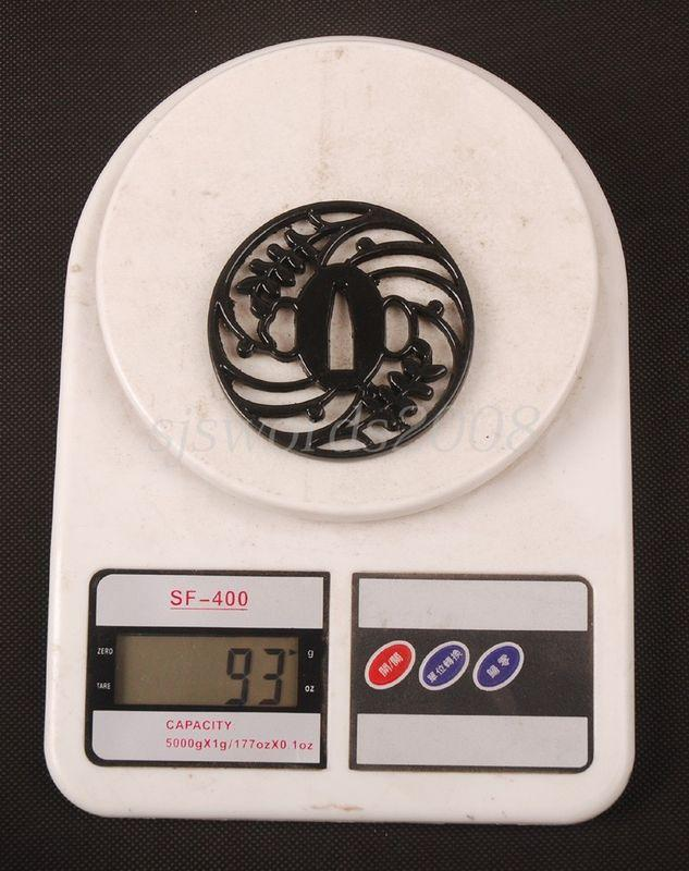 Japanese Sword Katana Fitting Alloy Tsuba Guard Black Nice Design Hj110