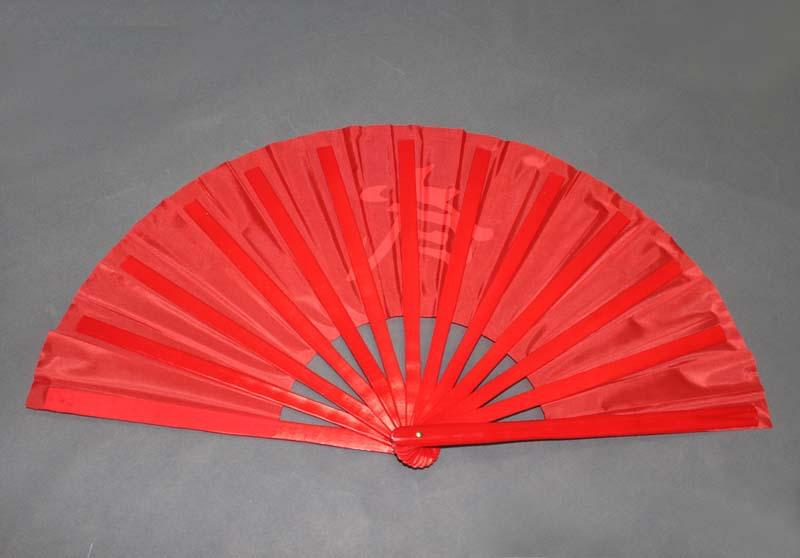 Chinese Characters Wu Tai Chi Martial Arts Kung Fu Wu Bamboo Fan Red 34cm