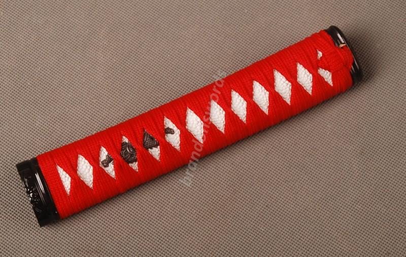 Samurai Sword Japanese Sword Wakizashi Handle Red Ito White Rayskin Tsuka Zj8